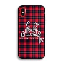 iPhone X flexibel hoesje  Merry Christmas motief geruit