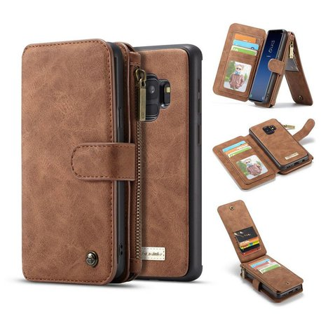 CaseMe 14 vaks 2 in 1 wallet hoesje Samsung Galaxy S9 PLUS Split leer