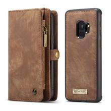 CaseMe Bruine multifunctioneel wallet hoesje Samsung S9 echt Split leer