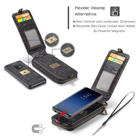 CaseMe Zwarte flip case  wallet hoesje Samsung S9 TPU leer