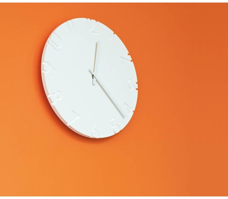 white clock 'Carved' is available with different time signals