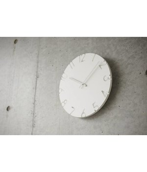 Lemnos white clock 'Carved' is available with different time signals
