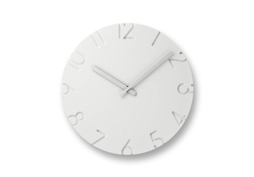 Lemnos white clock 'Carved'