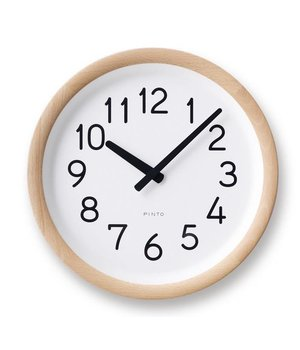 Lemnos Round wooden wall clock available in natural wood or black-finish