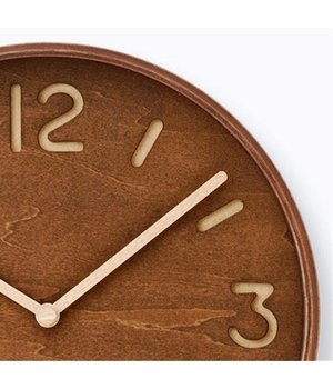 Lemnos wooden wall clock 'Thomson,' available in brown-stained or natural wood finish
