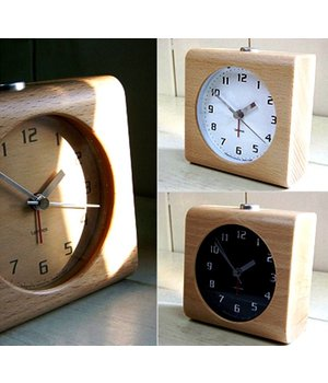 Lemnos Design alarm clock 'Block' carved from a solid block of wood