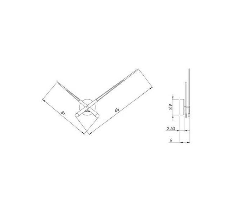 Design klok met alleen houten wijzers, Axioma 73 cm