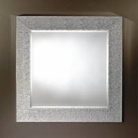 'Oslo Silver' mirror with a textured silver frame