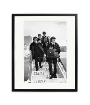 The Beatles at London Airport black white picture in frame