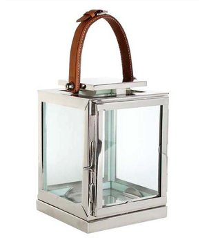 Eichholtz Candle lantern Georgian size Small with leather handle