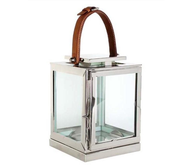 Candle lantern Georgian size Small with leather handle