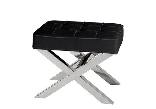 Eichholtz Black leather footstool
