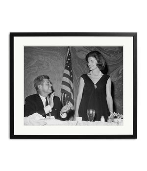 black and white picture John F. Kennedy and Jackie Kennedy