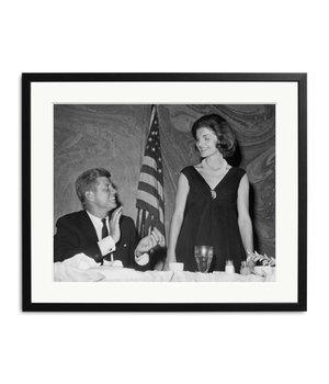 zwart wit foto John F. Kennedy en Jackie Kennedy
