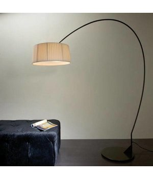 Contardi Floor lamp design 'Divina Arco' with fabric shade, height 211cm