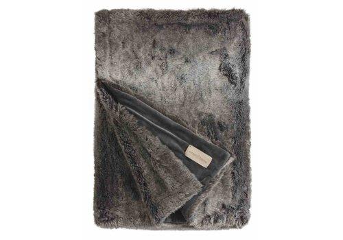 Winter-Home Faux fur plaid 'Timberwolf'