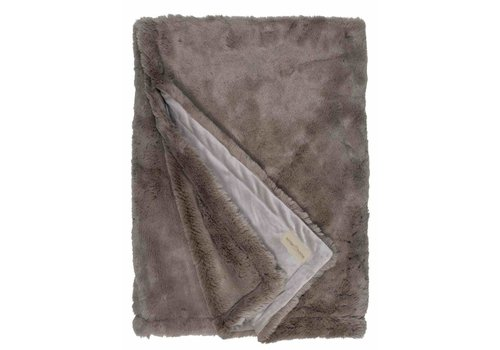 Winter-Home Faux fur plaid 'Seal Taupe' Supersoft