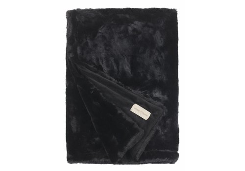 Winter-Home Faux fur plaid 'Seal Black'Supersoft