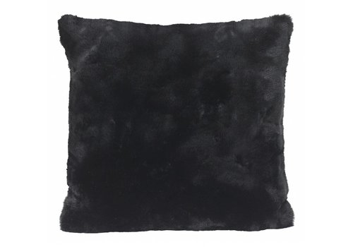 Winter-Home Cushion faux fur 'Seal Black'
