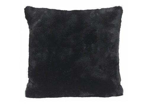 Winter-Home Cushion faux fur 'Seal Black'