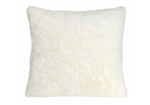 Winter-Home Cushion faux fur 'Seal Snow White'