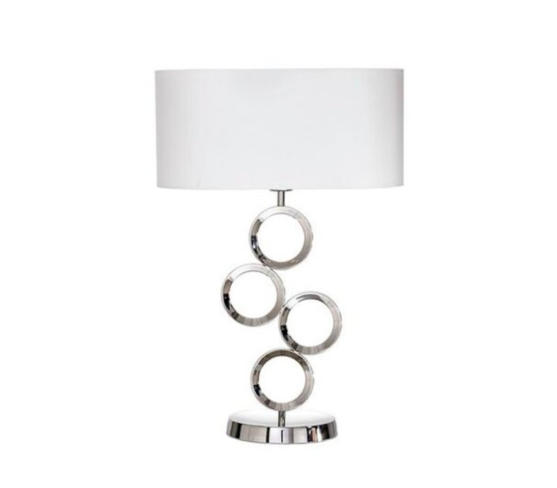 Modern table lamp steel with a shade in white