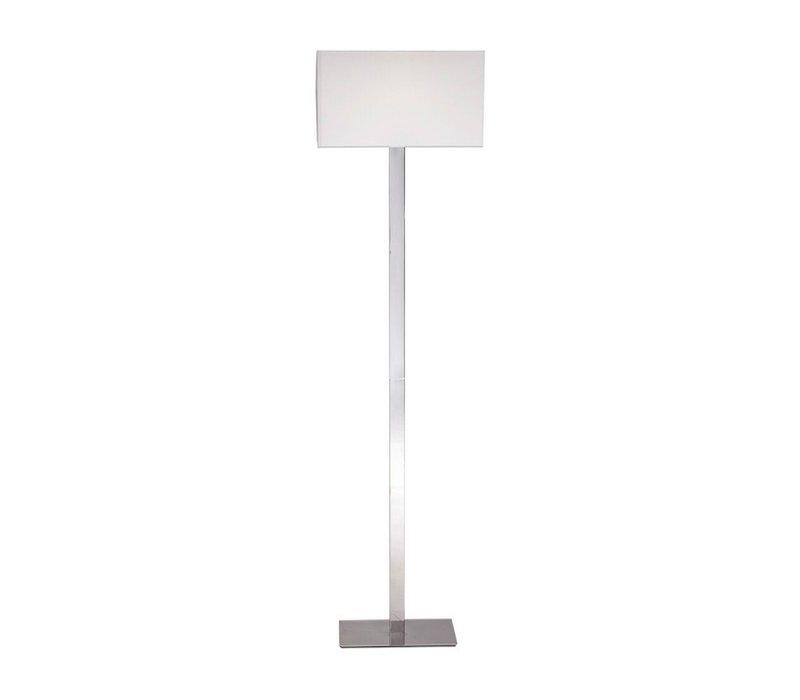 Moderne staande lamp van glanzend staal met witte lampenkap