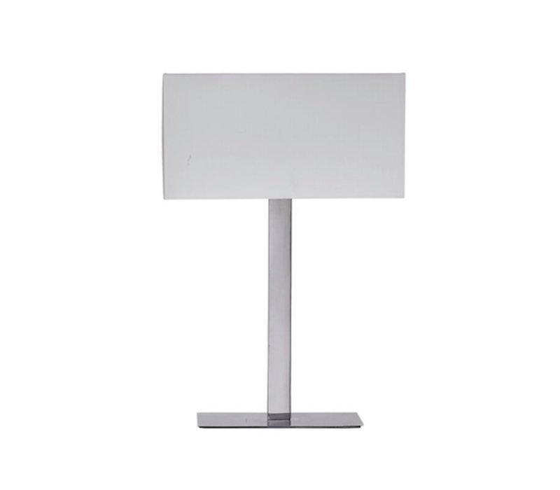 Moderne Tischlampe aus glänzendem Stahl mit weisser Lampenkappe