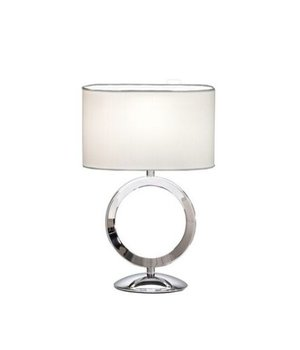 BRAID Small table lamp steel with a shade in white