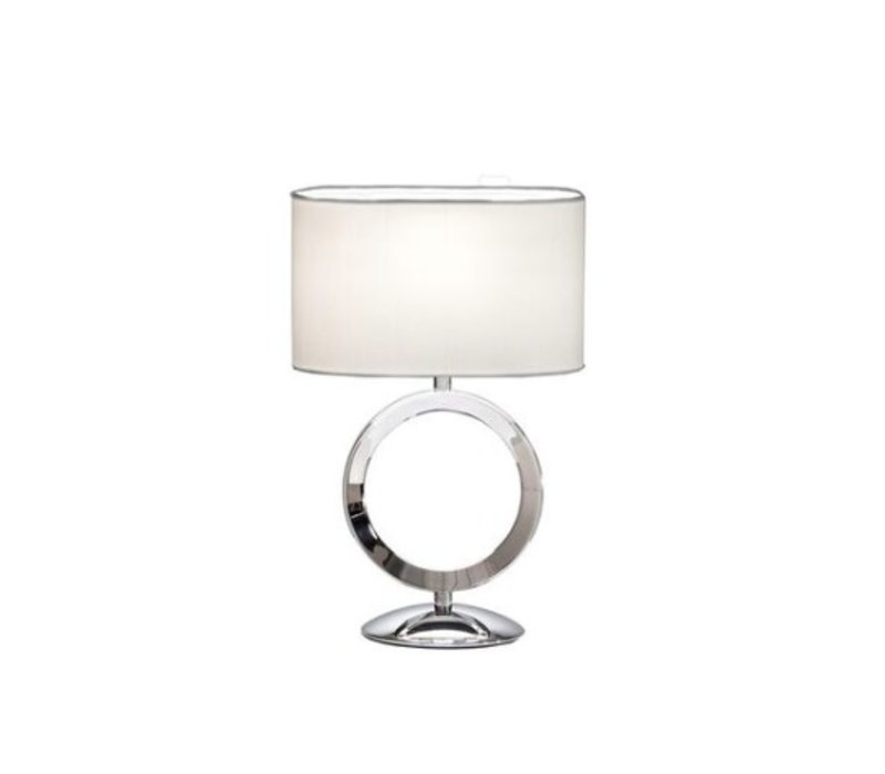 Small table lamp steel with a shade in white