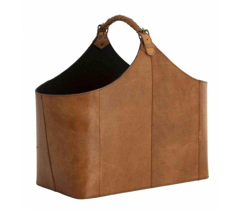 Leather Magazine Holder, 49x 28 x 45cm