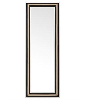 Eichholtz Ganzkörperspiegel 'Defender' mit schwarz -goldenem Leinen Rahmen 220 x 80 cm.