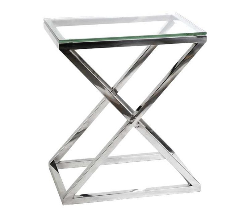 Glass Side table 'Criss Cross High' 62 x 42 x 72cm (h)