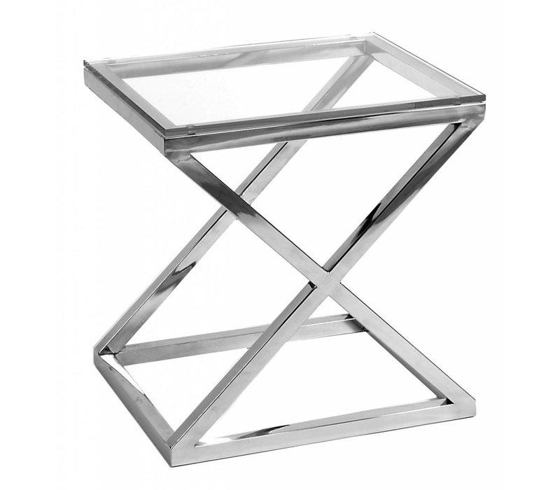 Glass Side table 'Criss Cross' 56 x 46 x 59cm (h)