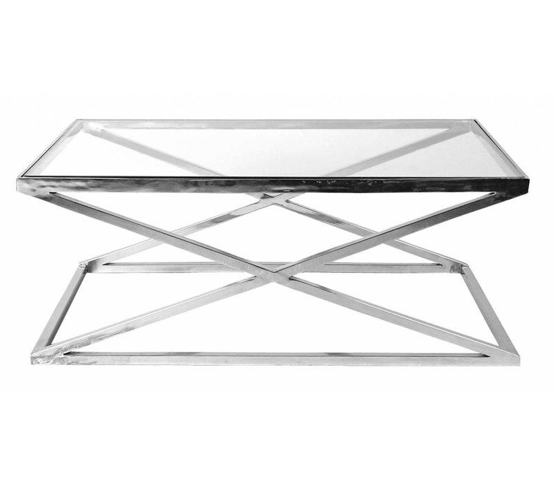 Glass Coffee table 'Criss Cross' 120 x 70 x 47cm (h)