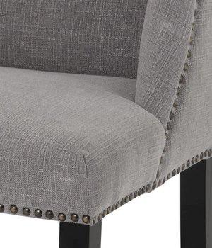 Eichholtz Esszimmerstuhl grau 'St James' mit Nieten-Verzierung