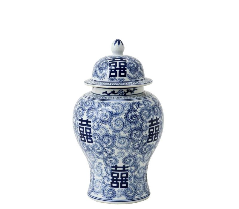 Decoratie vaas Chinese Blue 'Glamour L' 30 x 46cm (h)