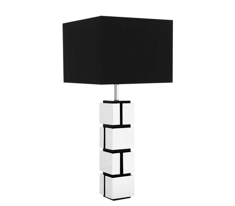 Tafellamp Reynaud met zwarte vierkante kap, 80cm hoog