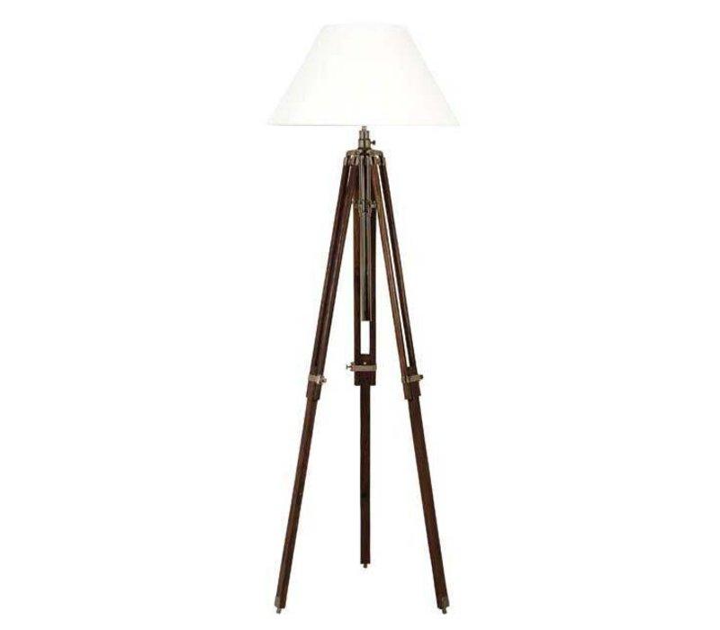 Dreibein Lampe 'Telescope' Wood/Brass verstellbar in Höhe