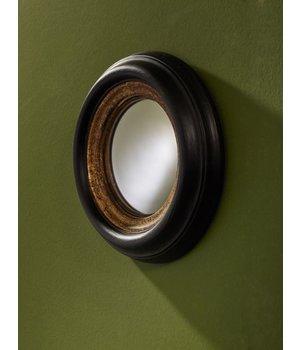 Deknudt round design mirror in black/gold frame, 'Convex mini'