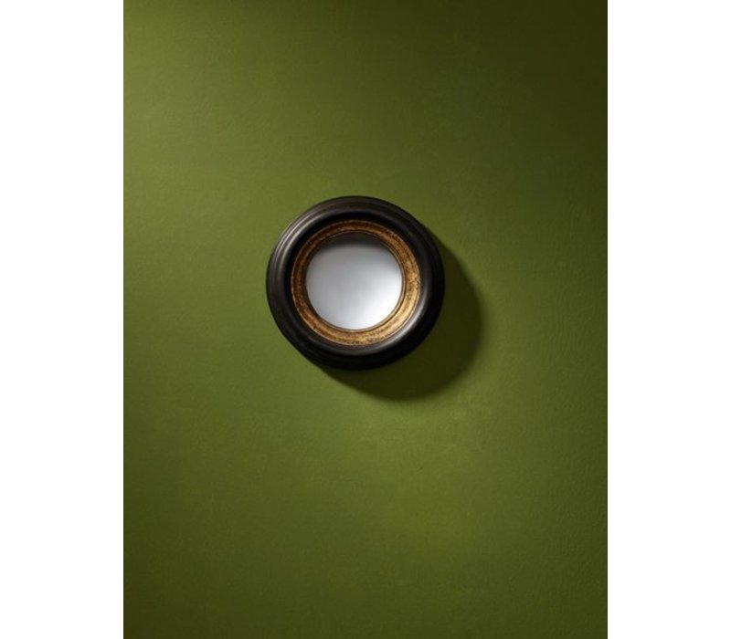 round design mirror in black/gold frame, 'Convex mini'