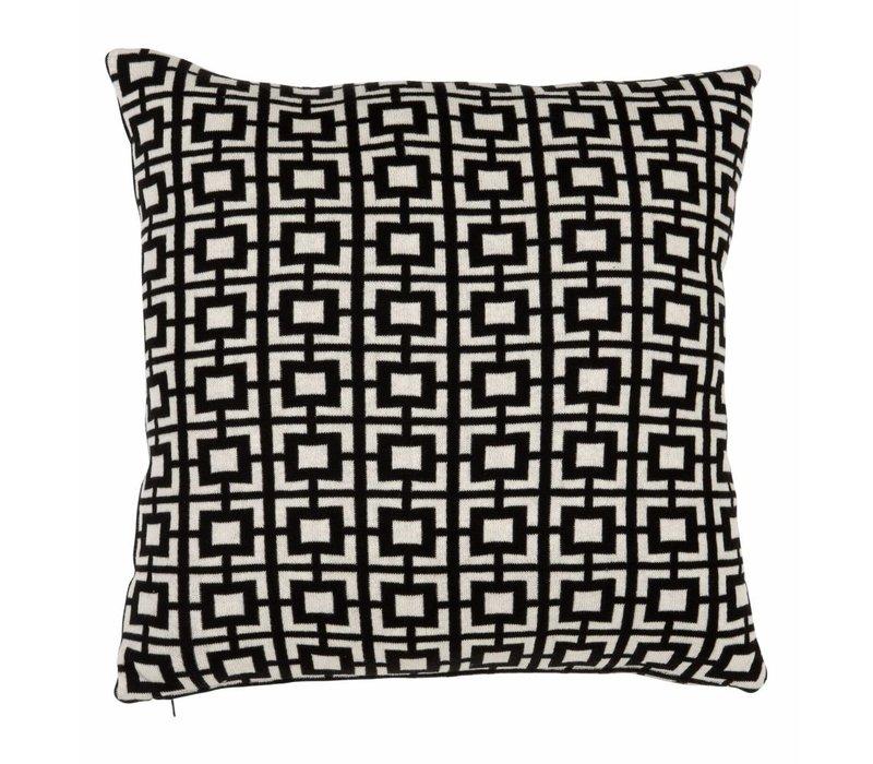 Sierkussen Abstract Squares kleur zwart