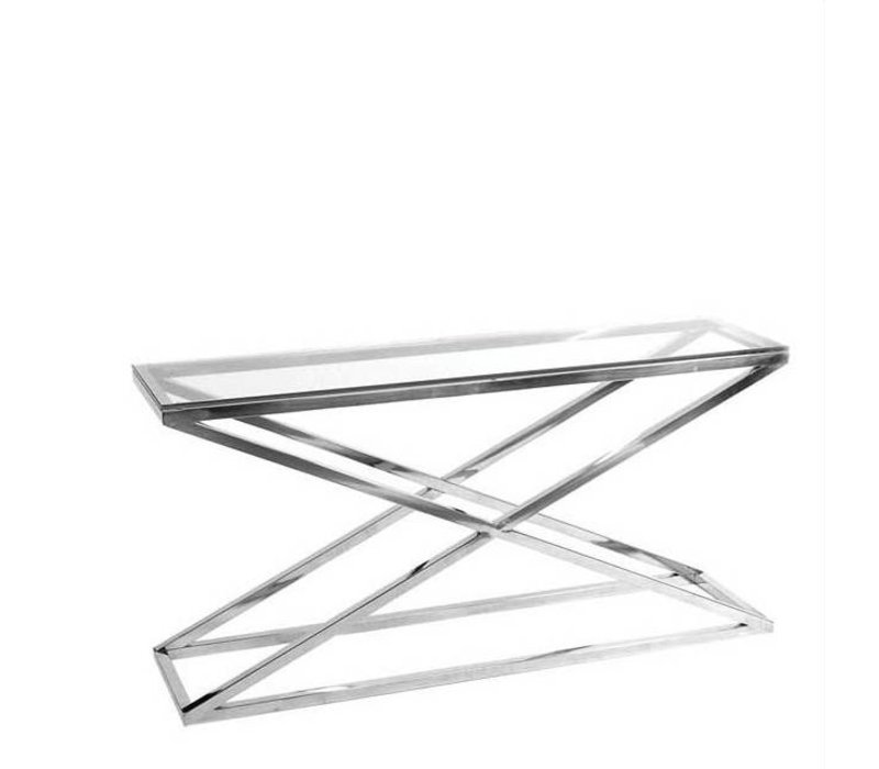 Glass console table 'Criss Cross' 150 x 40 x 74cm (h)