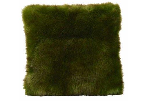 Winter-Home Cushion faux fur Greenwolf
