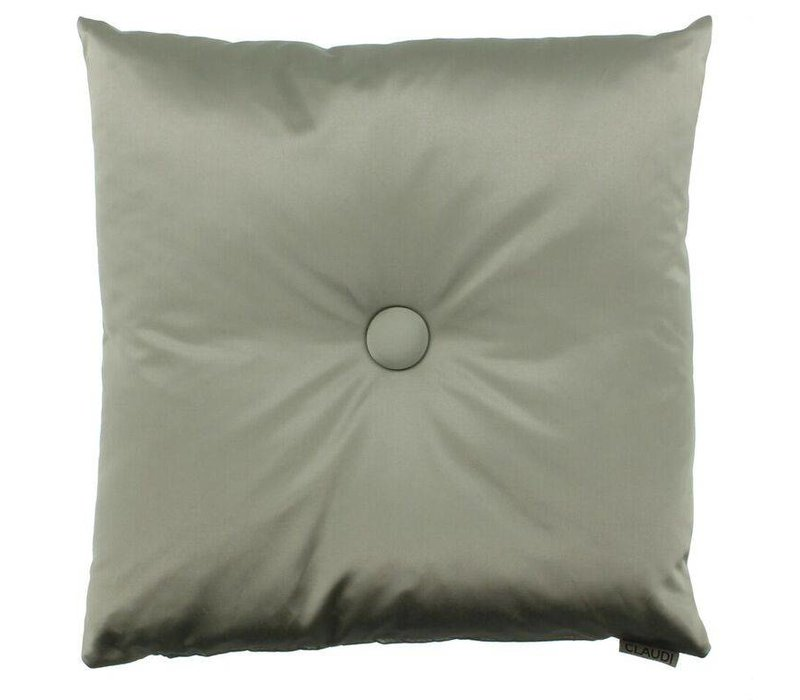 Throw pillow Dafne color Grey Mint with XL button