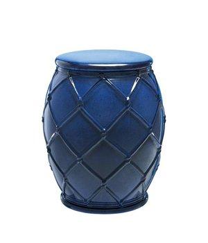 Eichholtz Bijzettafel keramiek 'Drum Rope' blue 35x46cm