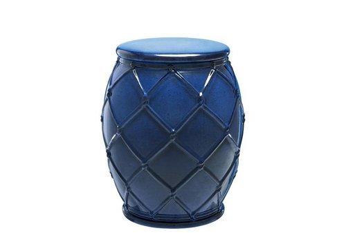Eichholtz Bijzettafel keramiek 'Drum Rope' blue