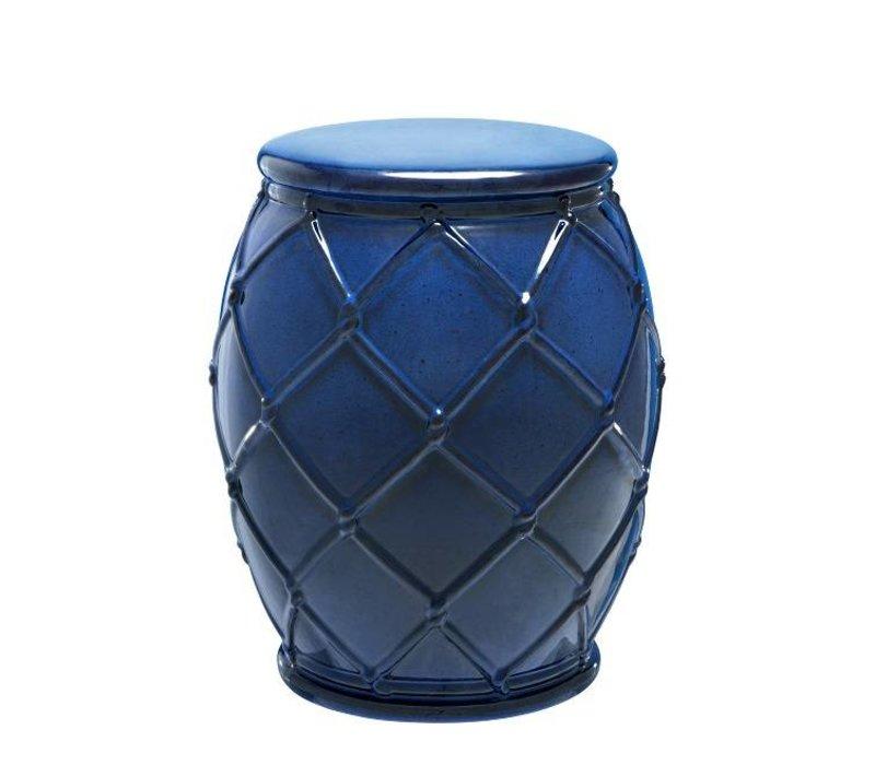 Beistelltisch Keramik 'Drum Rope' blue 35 x 46 cm