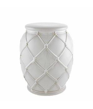 Eichholtz Bijzettafel keramiek 'Drum Rope' white 35x46cm