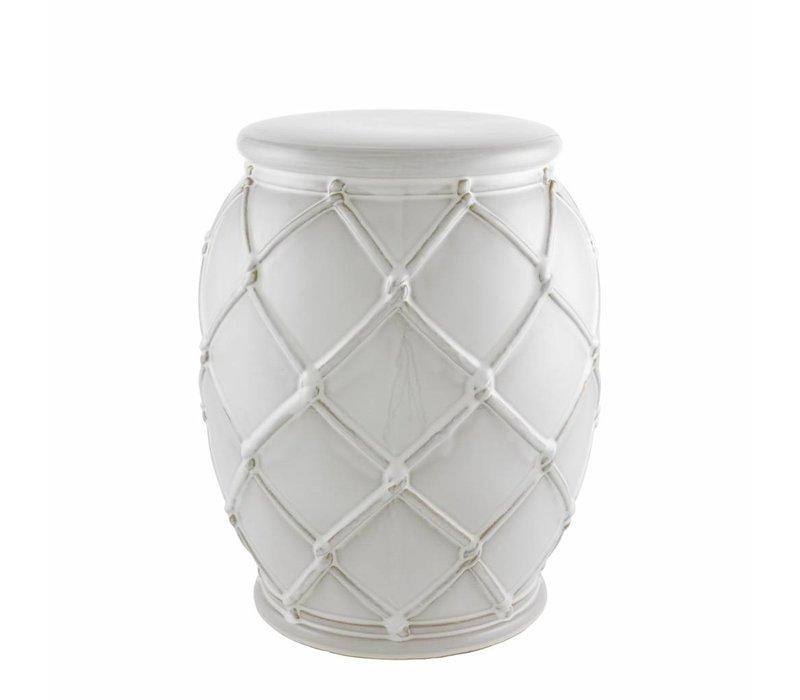 Beistelltisch Keramik 'Drum Rope' white 35 x 46 cm